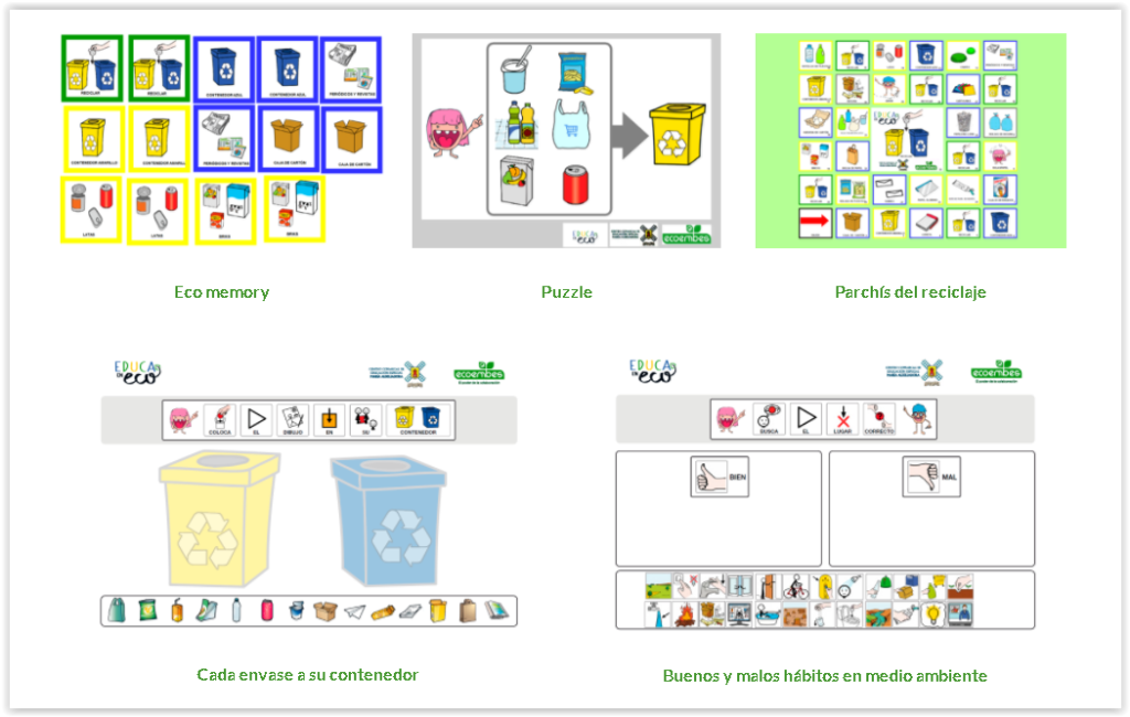 Reciclaje Educación Especial. A través principalmente de pictogramas y juegos, acercamos diferentes actividades de reciclaje adaptadas a niños con necesidades educativas especiales, tales como discapacidad intelectual o trastornos del espectro autista (TEA). De esta manera nos aseguramos de llevar la educación y el aprendizaje del medio ambiente y del reciclaje a todos, independientemente de sus capacidades u otras condiciones.